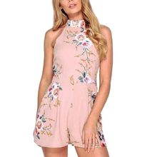 Buy 2018 Summer Sexy Halter Sleeveless Boho Playsuit Rompers Elegant Floral Print Women Jumpsuit Beach Party Overalls