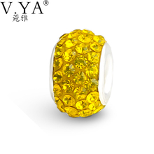 V.Ya High Quality DIY Yellow Bead fit for Pandora Bracelets Necklaces Chain  CZ Crystal Beads Charm for Women Jewelry Wholesale