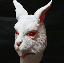 Halloween Party Cosplay Creepy Cute White Rabbit Head  Costume  Lovely Bunny Mask