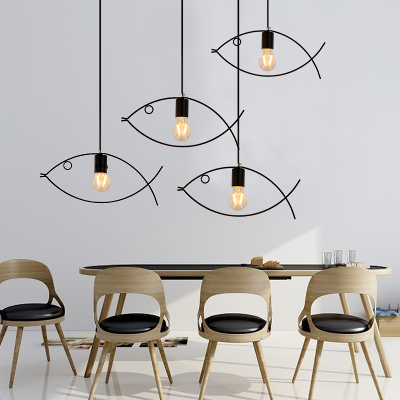 E27 Creative Personality LED Pendant Lights Fish Bar Minimalist Dining Room Nordic Hanging Lamp AC110V 220V Droplight Style <br>