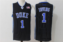 Kyrie Irving #1 Duke Blue/Black/White Retro Throwback Stitched Basketball Jersey Sewn Camisa Embroidery Logos