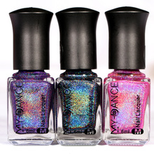 15 colors 6ML MYDANCE Holographic Holo Glitter Nail Polish Varnish Hologram Effect 6ml Manicure Nail Art Varnish(China)