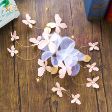 Gorgeous butterfly hairclip silk hairgrips girl pearl jewelry forehead bride headpiece Gifts wedding hair accessories xl091