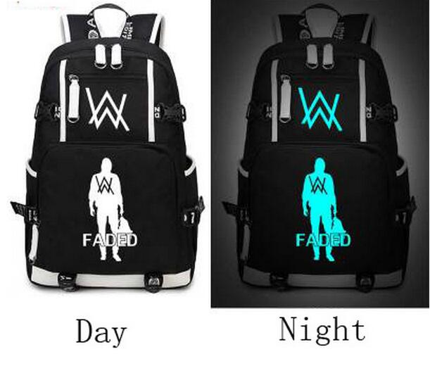Alan Walker Faded School Bag Backpack Men Women Unisex Boys Girls Casual Bag Glow in the Dark<br>