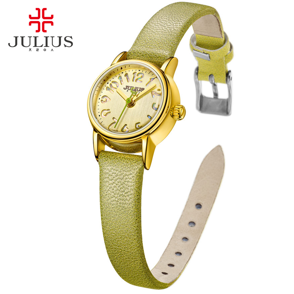 Julius Fashion Ladies Watches Leather Strap Candy Color Young Women Relojes Mujer 2017 Bayan Kol Saati Dress Relogio Masculino<br>