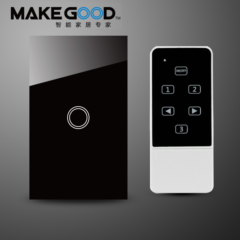 MakeGood US Standard New Design remote control switch,Glass Screen Panel Touch Light Switch 1 Gang 1way AC110-240V  Wall Switch<br><br>Aliexpress