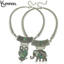 Vintage Shell Jewelry retro silver plated Shell Owl elephant choker necklaces & pendant for women fashion animal jewelry(China)