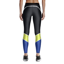 Buy Women Black Blue Yellow Patchwork Fitness Leggings High Waist Elastic Fiber Aerobic Exercise Workout Pants Full Size S-4XL for $14.99 in AliExpress store
