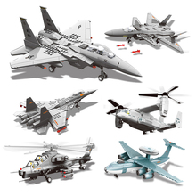 Military Enlighten Building Blocks Army DIY Bricks Fighter Airplane Aircraft Model J-15 WZ10 J-20 F-15 V-22 Gift For Children