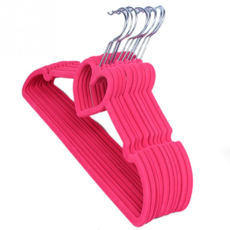 10pcs Flocking Non-Slip Thin Clothes Clothing Hanger Heart Shaped Space Save Closet Home Tool(China (Mainland))