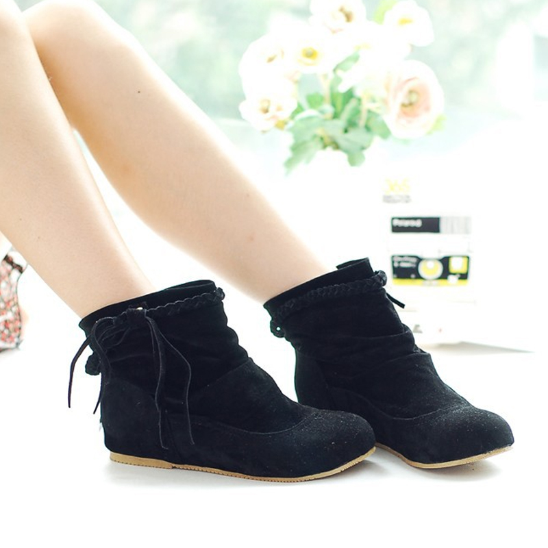 2017 New Fashion Women Braided Tassel Flat Comfortable Suede Leather Boots Round Toe Casual Boots  Size Shoes Booties  BAOK-93c0<br><br>Aliexpress