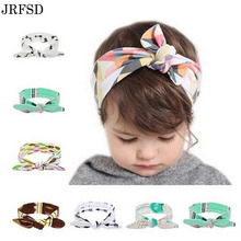 JRFSD kids Flower Floral Girls Headband Turban Rabbit Bow knot Hairbands  Headwear Elastic Hair Bands Hair Accessories For Girls