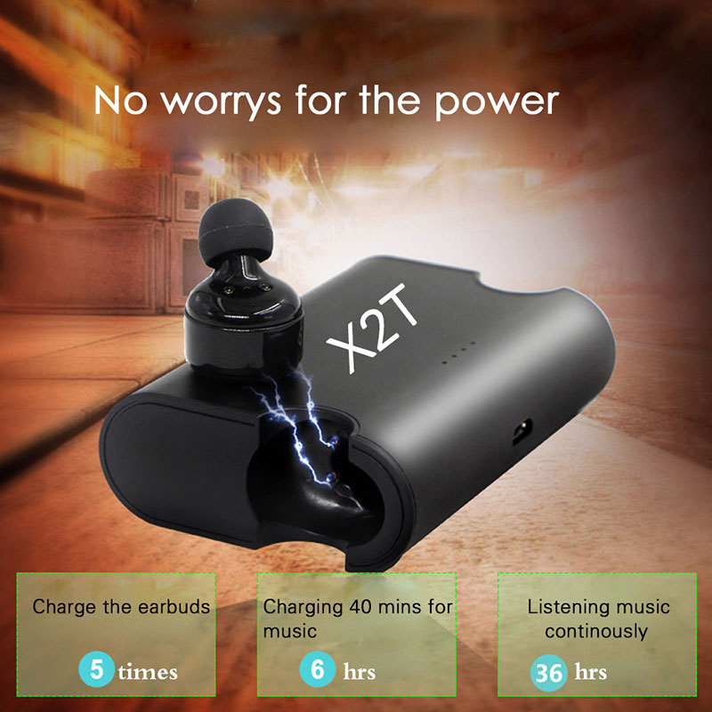 2017 New Wireless X2T Bluetooth V4.2 Earbuds Earphone Stereo In-Ear Sports Headset with charger box  for ios android phone<br>