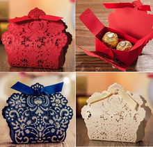 New Free shipping red gold royal blue pink white bow wedding candy box favor box wedding supplies 50pcs/lot(China)