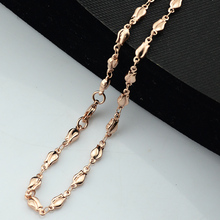 1pcs 61cm Long Necklace Womens Unisex  Rose Gold Filled Chain Rose Jewelry E368