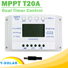 LCD Display 20A 12V/24V MPPT Solar Panel Battery Regulator Charge Controller for Lighting System Load Light and Timer Control