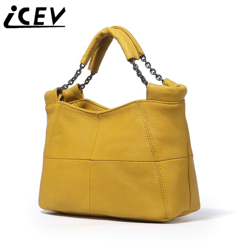 ICEV Casual Simple Cow Leather Patchwork Ruched Genuine Leather Bags Handbags Women Famous Brands  Women Leather Handbags Sac<br>