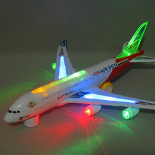 Cool electric air bus largetoy Flashing Led Light Music electronic passenger vehicles Aircraft Plane for boys(China)