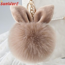 Artificial Rabbit Fur Ball Keychain Women Bag Plush Key Ring Car Key Pendant Delicate Candy Color