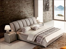 grey contemporary modern fabric sleeping soft bed King size bedroom furniture Made in China
