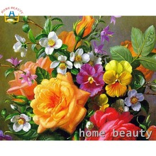 Hand painted flowers painting calligraphy for living room acrylic picture paint by numbers wall decor coloring by number Y110(China)