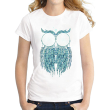2017 New Fashion Owl Dream Design Women T-Shirt Short Sleeve Tops Novelty Feather Owl Printing Tee Shirts(China)