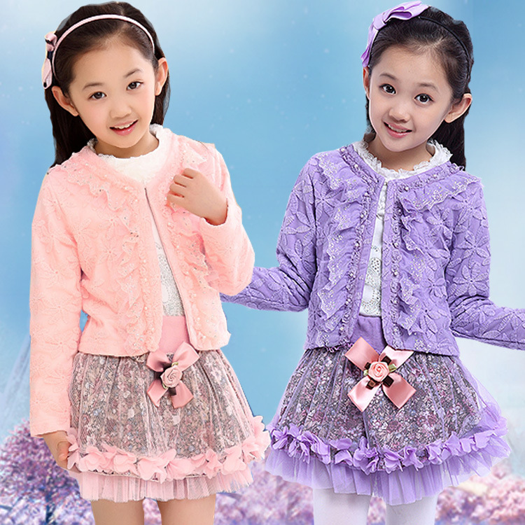 New Childrens Suit Fall Girl Princess Skirt Three Sets Suit Cotton White Pink Purple Lace<br>