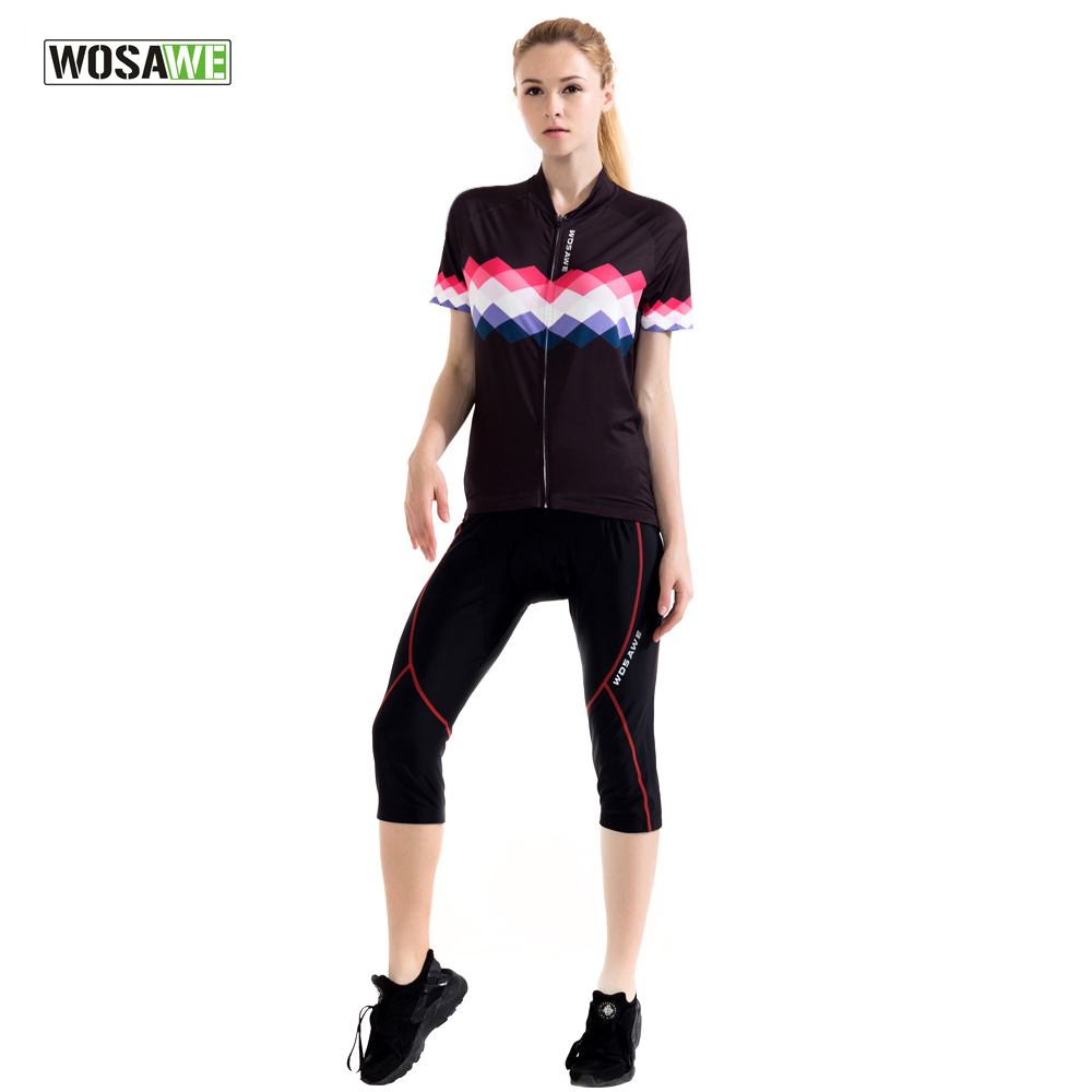 WOSAWE Womens Summer Cycling Jersey Sets with 3/4 Trousers Road Mountain MTB Bike Bicycle Sports Cycling Clothing Short Sleeve<br>