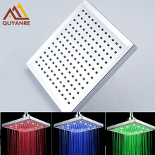 Free Shipping 3 Color Changing LED Shower Head Chrome Finish ABS Plastic Material