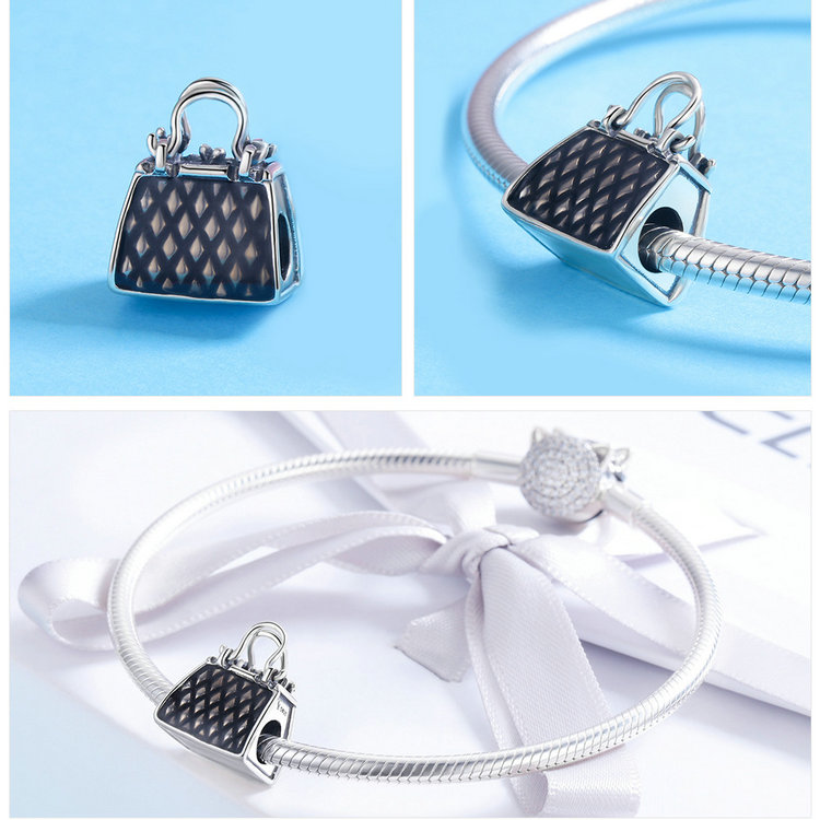 100% 925 Sterling Silver Women Handbag Black Enamel Charm Beads