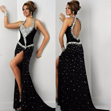 Haotaitai Black Luxury Crystal Evening Dress Long Sweetheart Backless A-Line High Leg Slit Sweep Train Party Gown
