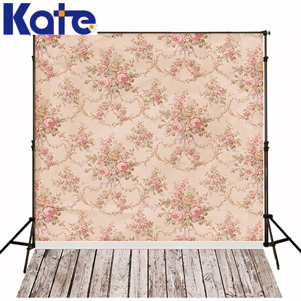 Kate Children Photo Studio Baby Backdrop 6.5X10Ft(200X300cm) Classical Flower Wallpaper Wood Washable Photo Booth Backdrop<br>