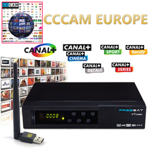 Freesat V7 Combo DVB-S2 DVB-T2 Receptor with One Year Europe CCcam 1 Cline Satellite Receiver and 1pc USB WIFI Set top box(China)