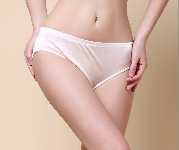 100% silk brief solid color silk women's low waist briefs panties legging comfortable antibiotic(China)