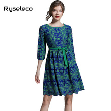 Ryseleco Women 2017 Autumn Lace Dresses Office Lady Casual High Fashion Geometric Prints Cut Out Lace Half Sleeve Flare Vestidos(China)