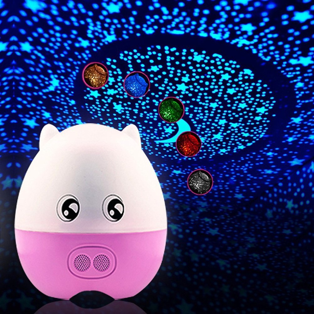 Creative 4 in 1 Lovely Pig Star Projector bluetooth speaker and Desk LED changing Lamp,Cartoon Pig Night light Projector Speaker<br><br>Aliexpress