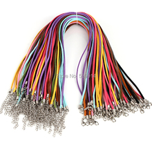 3mm 18-20inch Adjustable Assorted Color Suede Leather Necklace Cord With Lobster Clasp 60pcs/lot