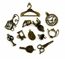 Hot sale 106pcs/lot Vintage Charms 12 style Mix Antique Bronze Alloy charm Pendant For DIY fashion charms jewelry ZH-BJI009