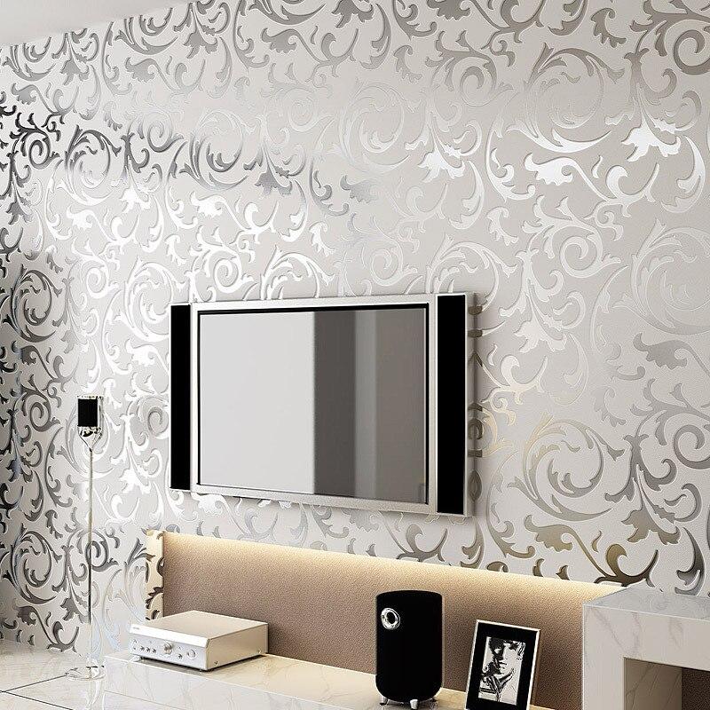 beibehang Environmental nonwovens wallpaper European silver gray gold living room bedroom background wall paper papel de parede<br>