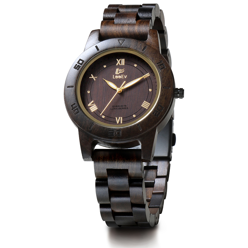 LeeEv EV2076 Womens Natural Black Sandal Wood Watch Quartz Light Weight Vintage Wooden Wrist Watch<br>