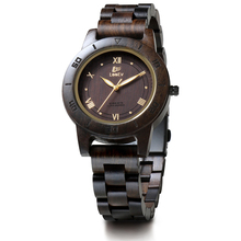 LeeEv EV2076 Womens Natural Black Sandal Wood Watch Quartz Light Weight Vintage Wooden Wrist Watch(China)