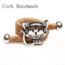 Natural Cork cute cat ring Antique Sliver vintage animal women Ring original adjustable  wooden jewelry HR-024