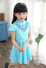 2017 new little girl Guzheng costumes Classical costume for girls Spring and summer short-sleeved dress Children's cheongsam gir