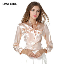 2017 New Women Blouse  Classic Big Bow Blusa Long Sleeve Silk Imitation V-Neck Sexy Shirt Plus Size Tops Work Clothes