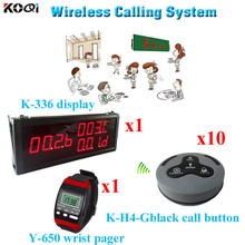 Waitress Paging System Waiter Pager Wireless Call Bell Electronic Ring Bell Wireless Set(1 display 1 wrist watch 10 call button)