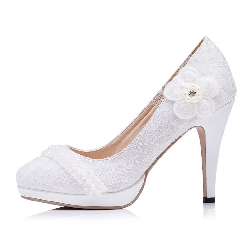 Retail Women Wedding Shoes  Lace  Flower  Pearls High Heels Slip On Bridal Shoes Platform Round Toes Size  EU34-41  J603<br><br>Aliexpress