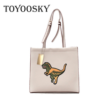 TOYOOSKY Brand Women Shoulder Bag Embroidery dinosaur print Autumn/Winter PU Leather Bags Lady Tote High Quality Women's Handbag