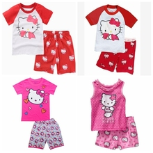 New Design Summer Kids Baby Sleepwears Hello Kitty Suits Boys Pajamas Children Pyjamas Girls Cartoon short sleeve Pijamas