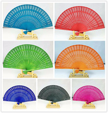 (30 pieces/lot) New  Fancy party favors 8 inches 7 colors available wedding fans Chinese solid color sandalwood fans