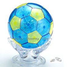 DIY crystal Football cubic fun jigsaw puzzle 3d model building brinquedos educativos educational kids toys for children(China)